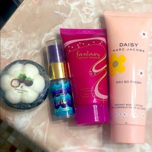 Fantasy body wash,daisy bodylotion,tarte mist,soap